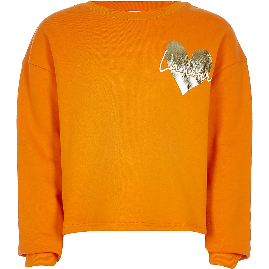 Girls orange 'L'Amour' heart print sweatshirt