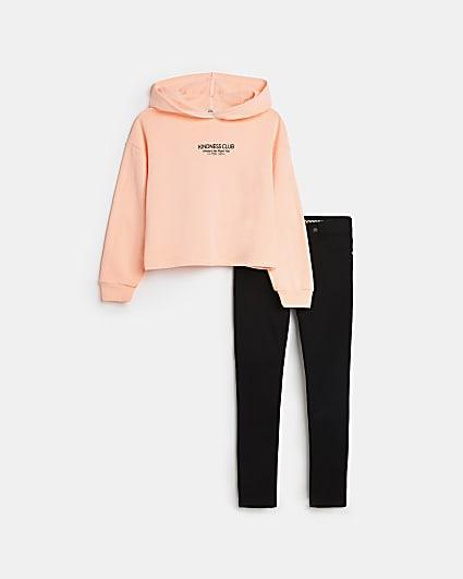 Girls orange neon hoodie and skinny jeans set