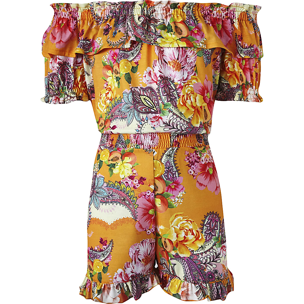 Girls orange paisley bardot frill playsuit