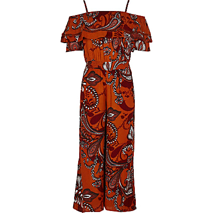 Girls orange paisley print wide leg jumpsuit