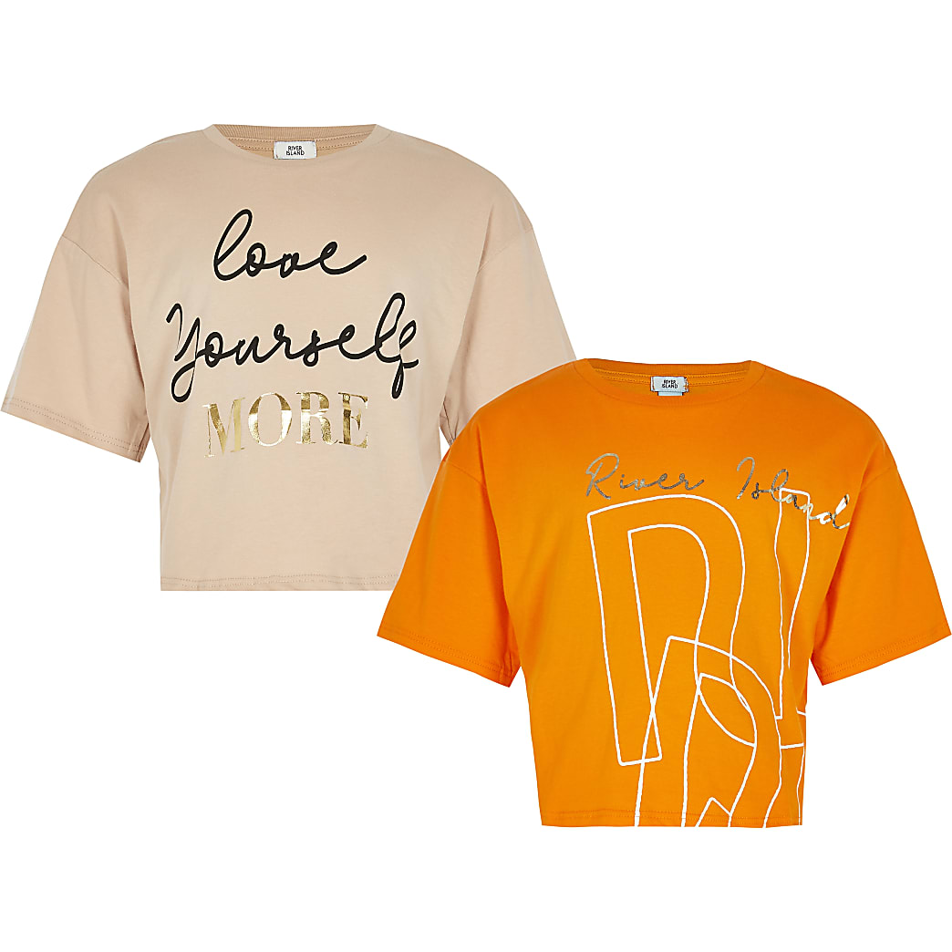 Girls orange printed t-shirt 2 pack