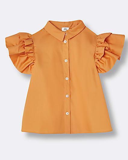 Girls orange puff sleeve shirt