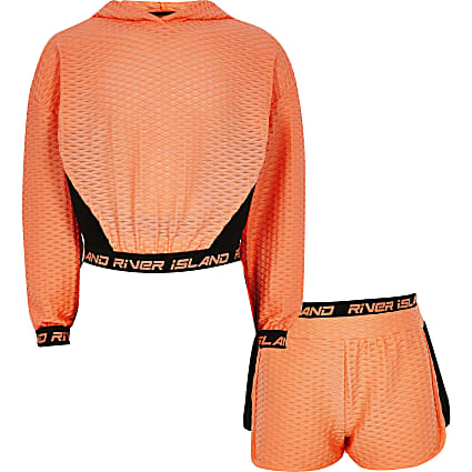 Girls orange RI Active jacquard sweat set