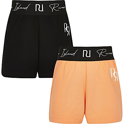 Girls orange RI waistband shorts 2 pack
