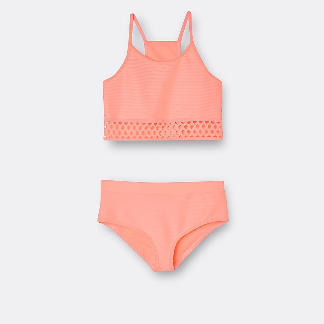 Girls orange ribbed crop bikini set