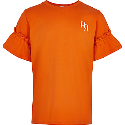 Girls orange RR ruffle sleeve t-shirt
