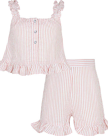 Girls orange stripe cami and shorts outfit