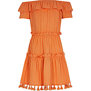 Robe Bardot texturée orange pour fille