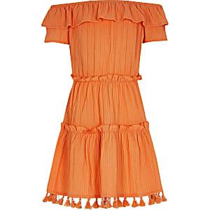 Oranje bardot jurk met textuur voor meisjes
