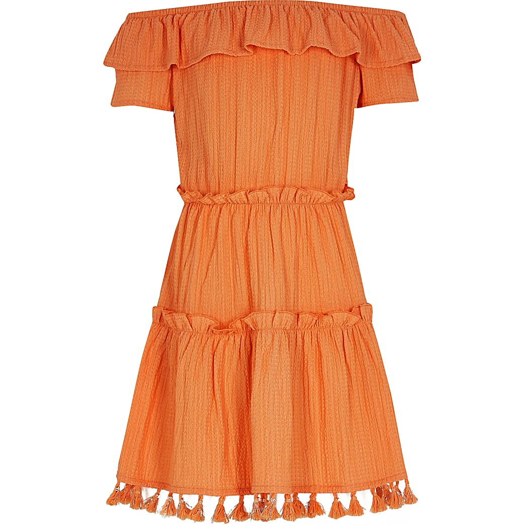 Girls orange textured bardot dress