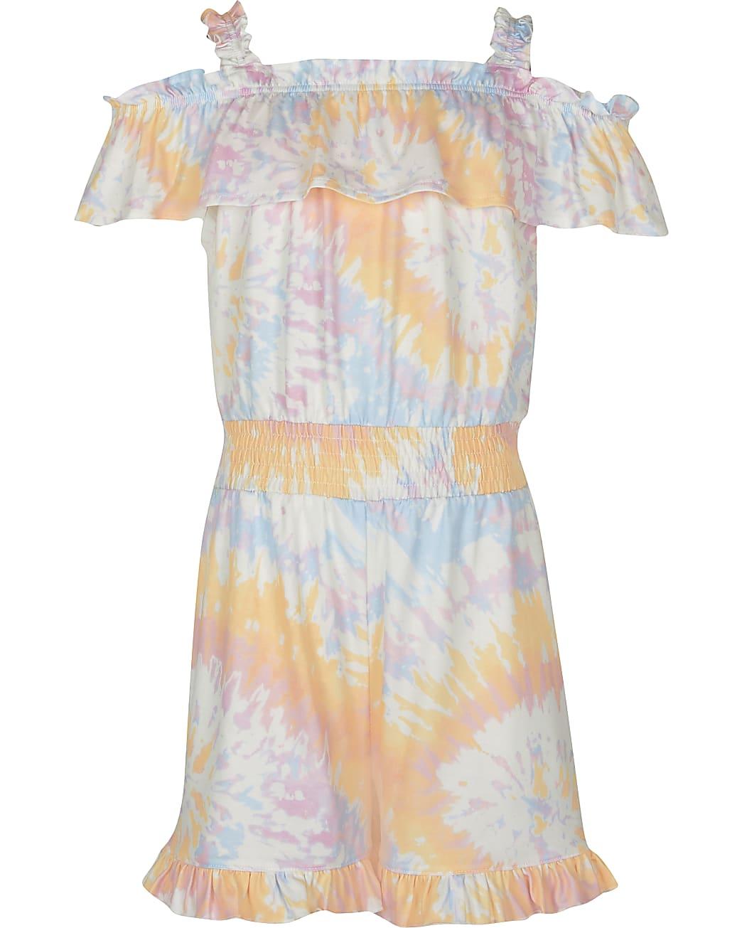 Girls orange tie dye playsuit