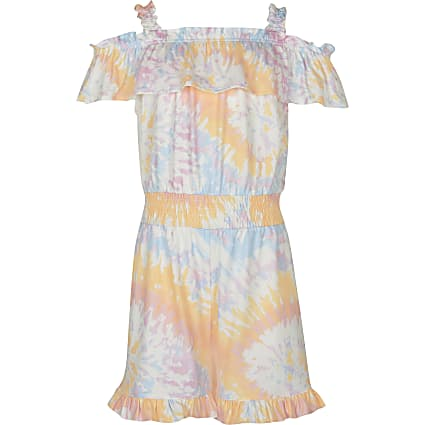 Girls orange tie dye playsuit