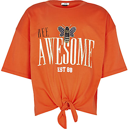 Girls orange tie front bee t-shirt