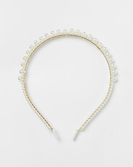 Girls pearl flower headband