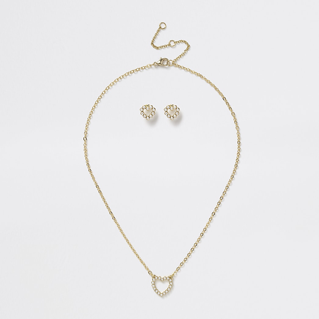 Girls pearl heart necklace and earrings set