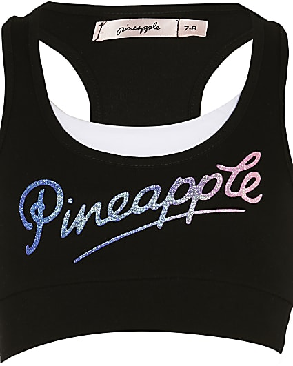 Girls Pineapple black crop top