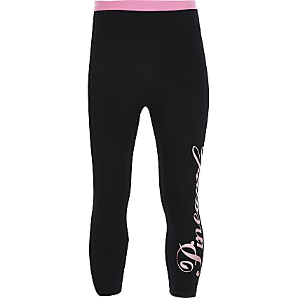 Girls Pineapple black logo leggings