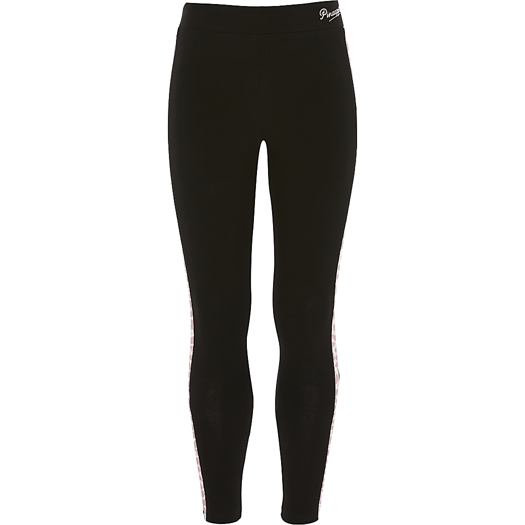 Girls Pineapple black piping leggings