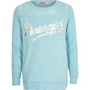 Pineapple- Blauwemeshsweater met print voor meisjes
