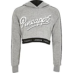 Pineapple – Grauer, kurzer Hoodie mit Print für Mädchen