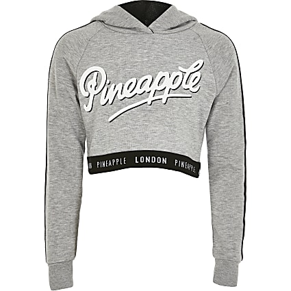 Girls Pineapple grey printed cropped hoodie