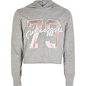Grijze hoodie met Pineapple-print voor meisjes