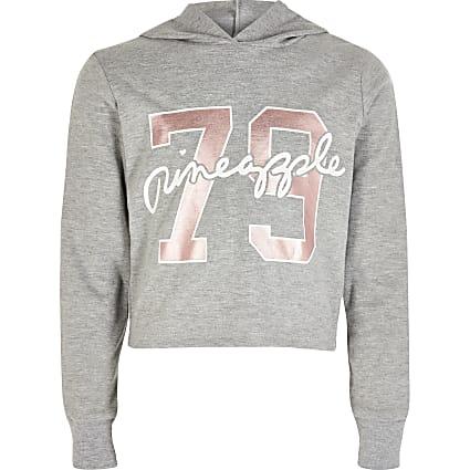 Girls Pineapple grey printed hoodie