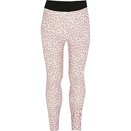 Girls Pineapple pink leopard print leggings