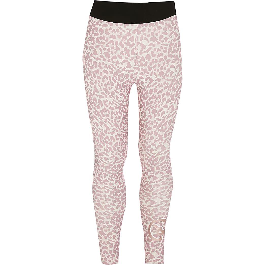 Girls Pineapple pink leopard print leggings