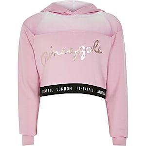 Pineapple - Roze cropped hoodie met mesh voor meisjes