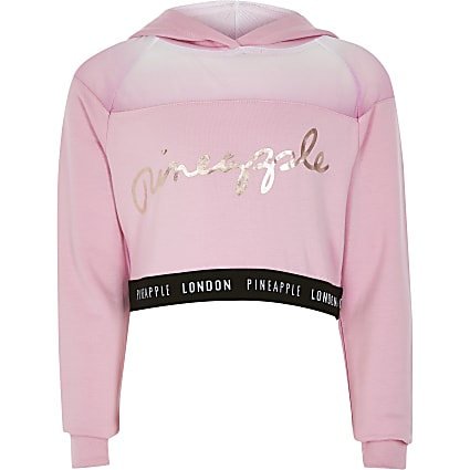 Girls Pineapple pink mesh cropped hoodie