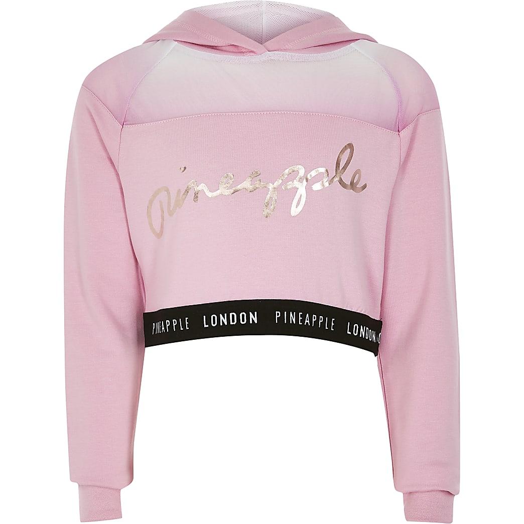 Girls Pineapple pink mesh cropped hoodie