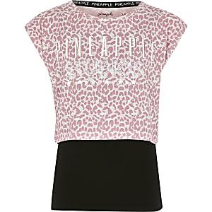 Pineapple – T-Shirt im Lagenlook mit Print in Rosa
