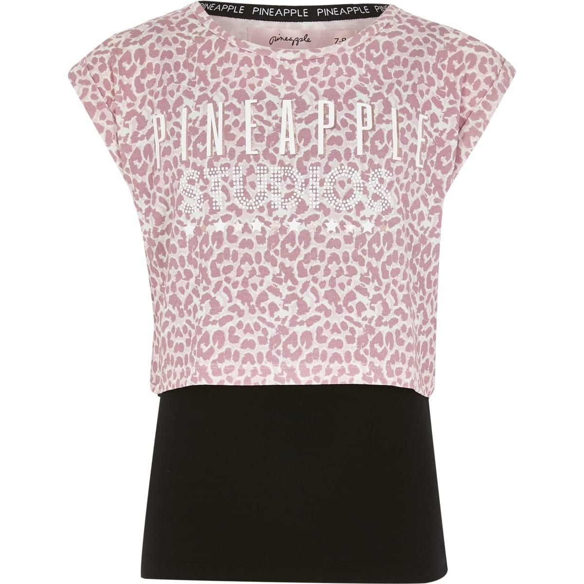 Girls Pineapple pink printed layered T-shirt