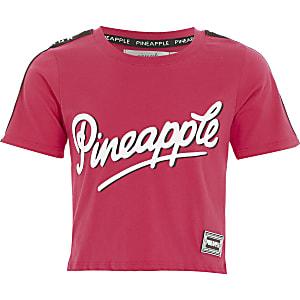 Pineapple - Roze T-shirt met print en bies voor meisjes