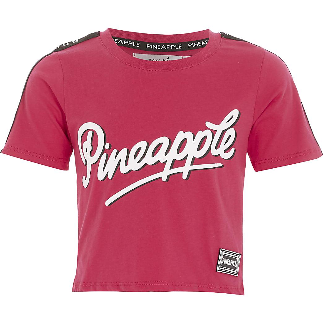 Girls Pineapple pink printed tape T-shirt