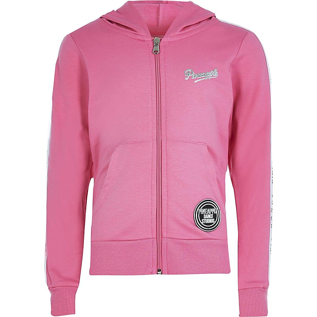 Girls Pineapple pink zip hoodie