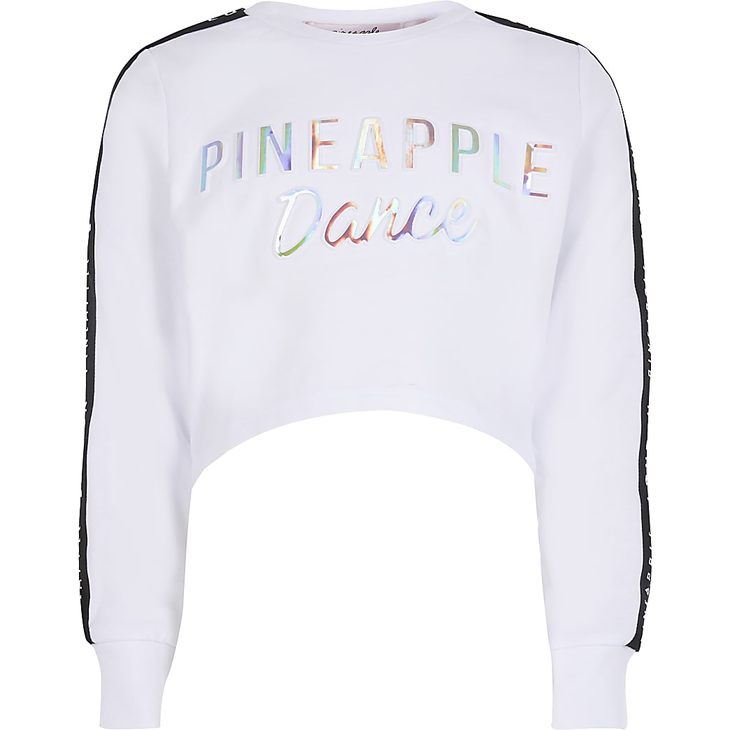Girls Pineapple white cropped sweatshirt