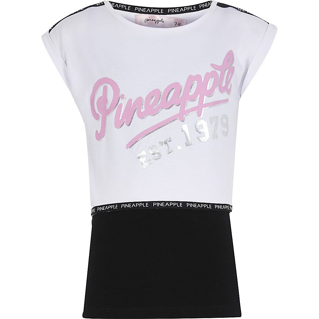 Girls Pineapple white double layer top