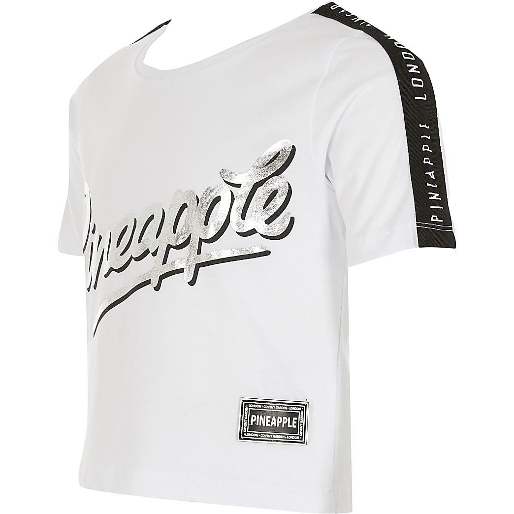 Girls Pineapple white printed crop T-shirt