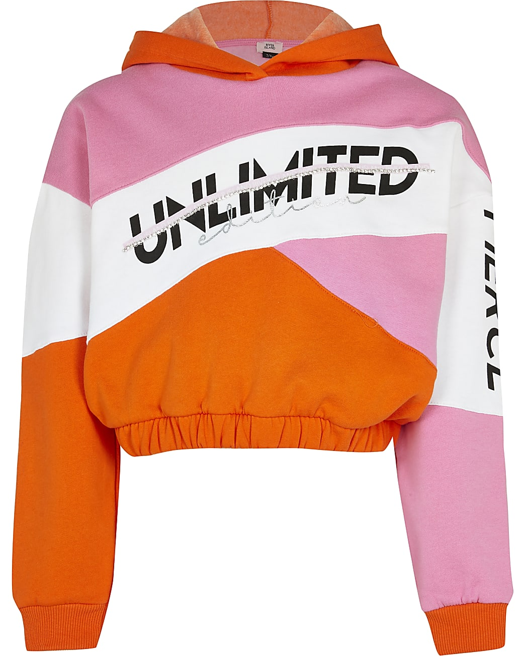 Girls pink  colour block hooded sweatshirt