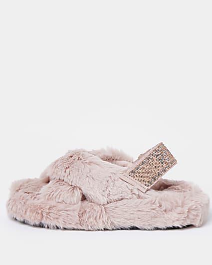 Girls pink  diamante faux fur slippers