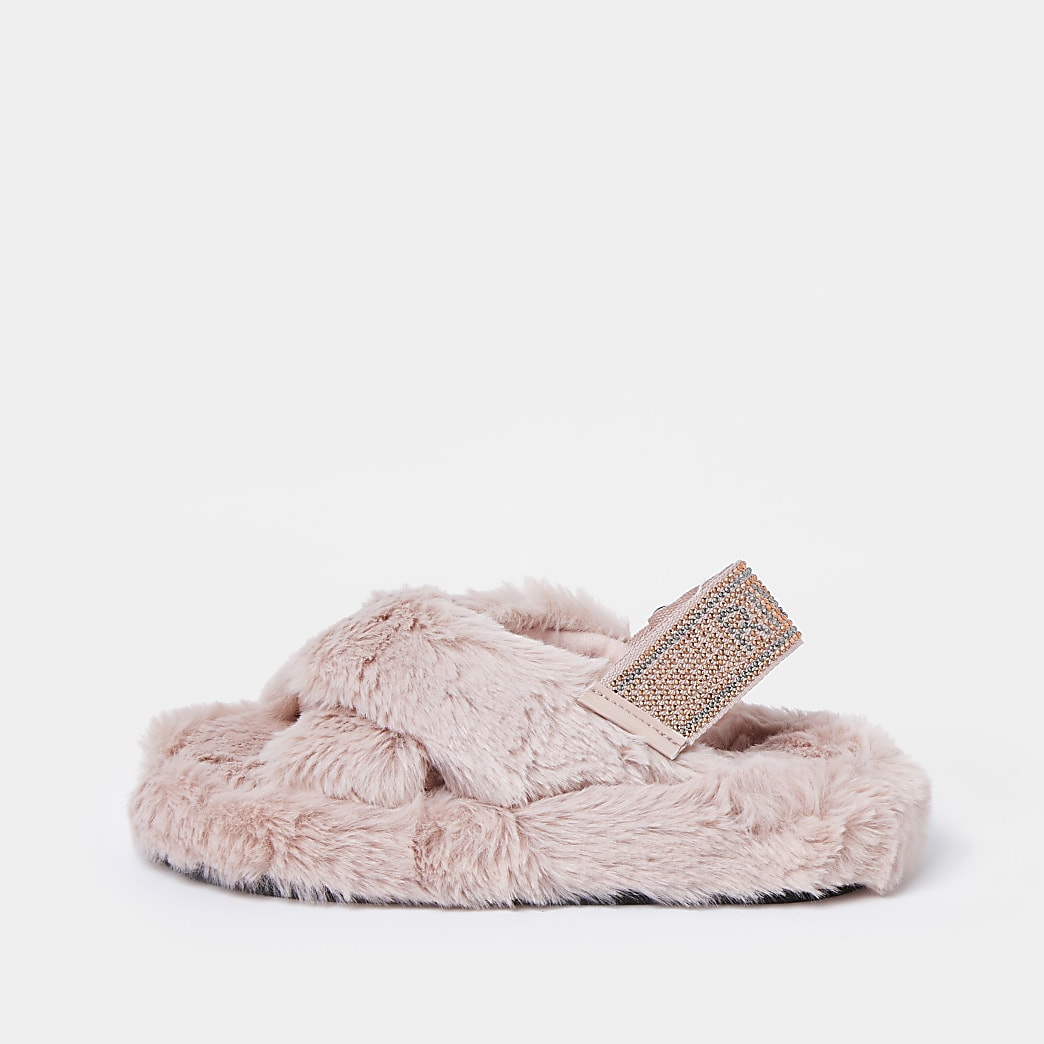 Girls pink  diamante faux fur slippers