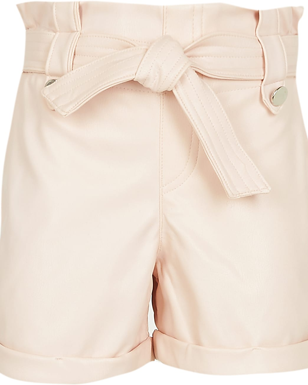 Girls pink  faux leather paperbag shorts