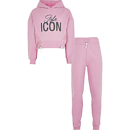 Girls pink  velour 'Style icon' outfit