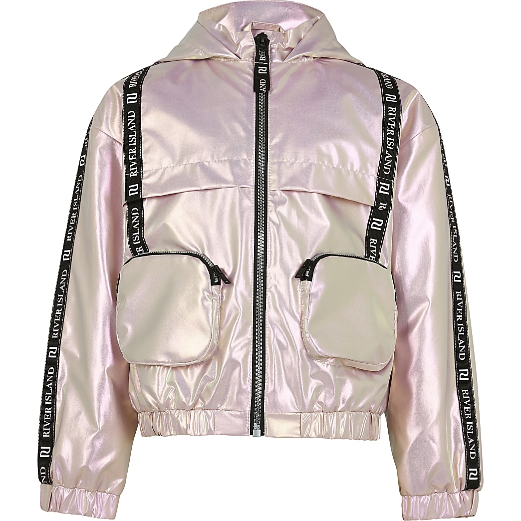 Girls pink 3D pocket bomber jacket