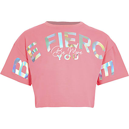 Girls pink Active 'Be fierce' crop t-shirt