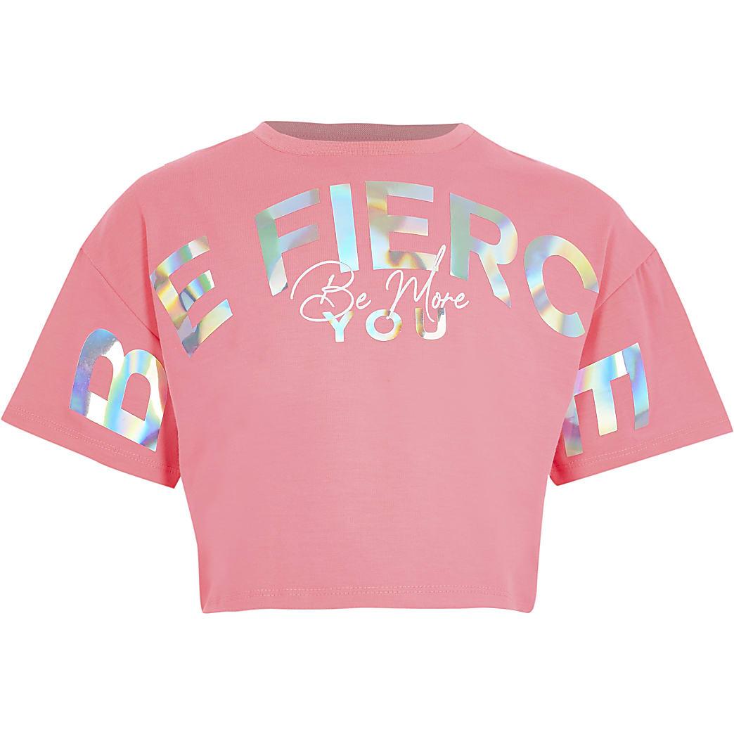 Girls pink Active 'Be fierce' crop t-shirt