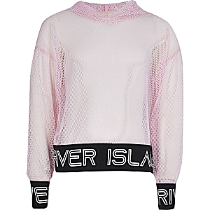 Girls pink active mesh hoodie