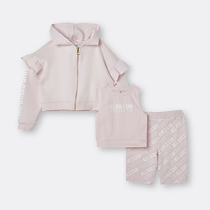 Girls pink 'All Girls Can' 3 piece outfit